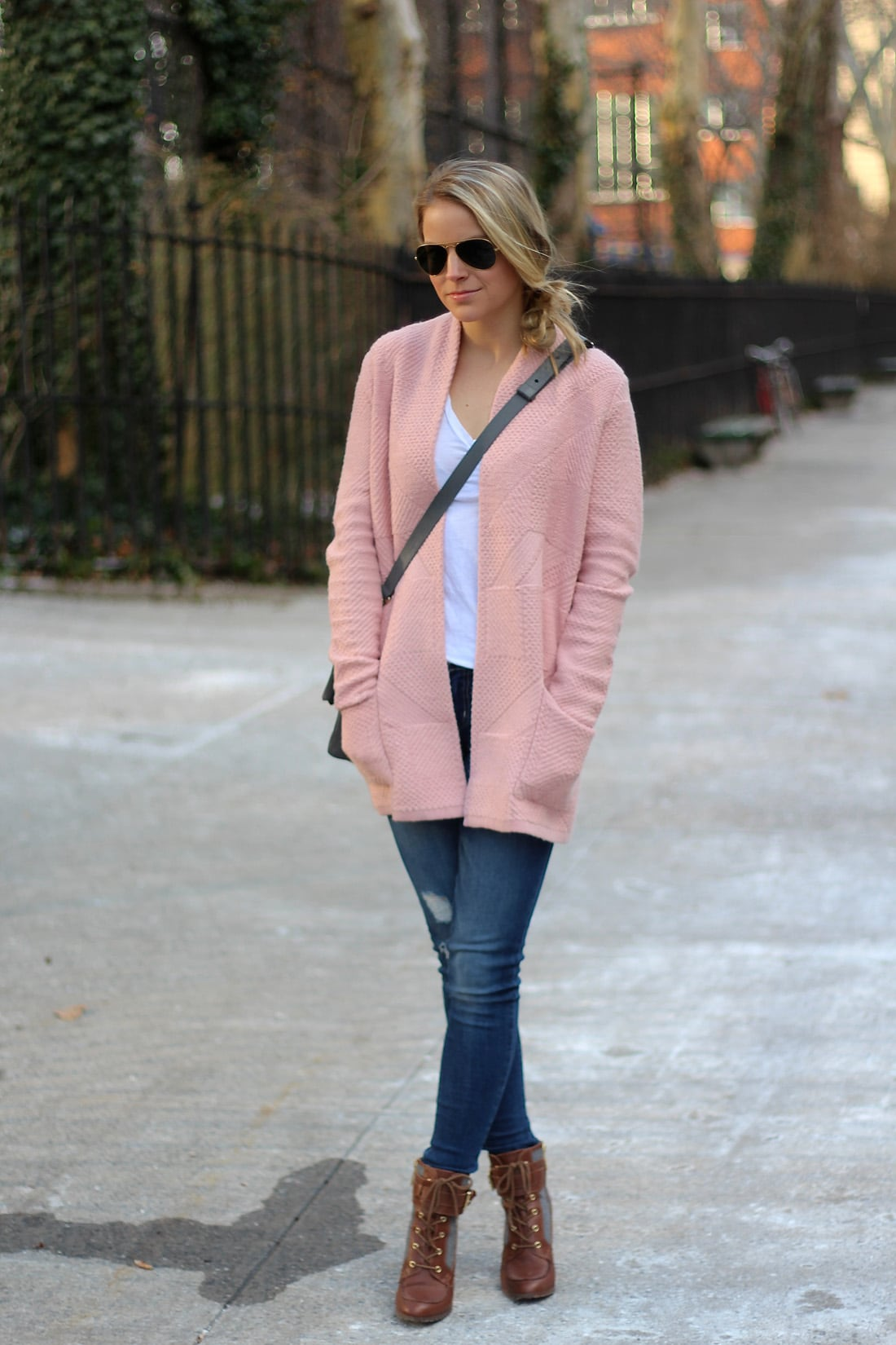 pink cardigan sweater, pink infinity scarf, light pink sweater