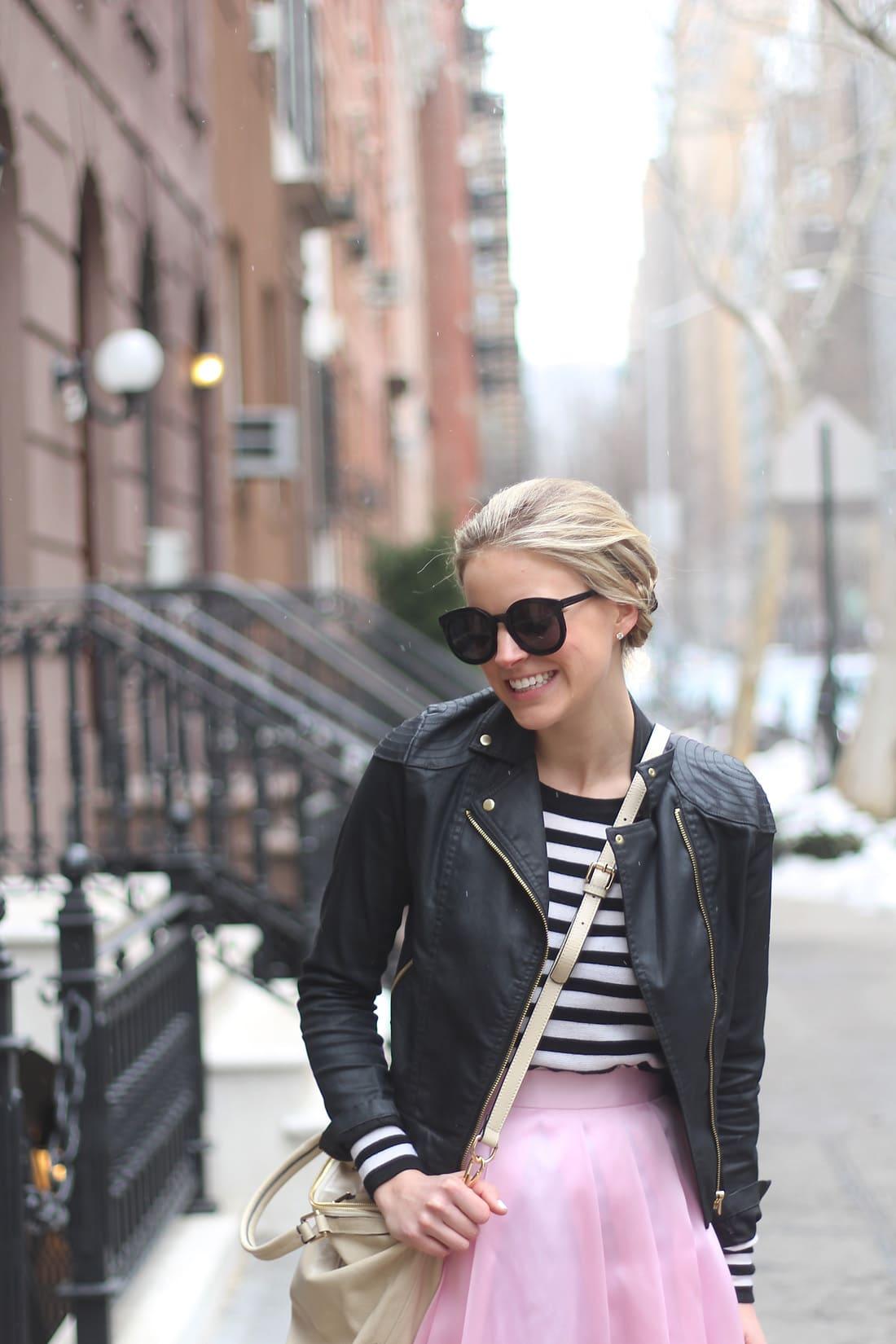 pink midi skirt, nyfw, mbfw, new york fashion week, braided hairstyles