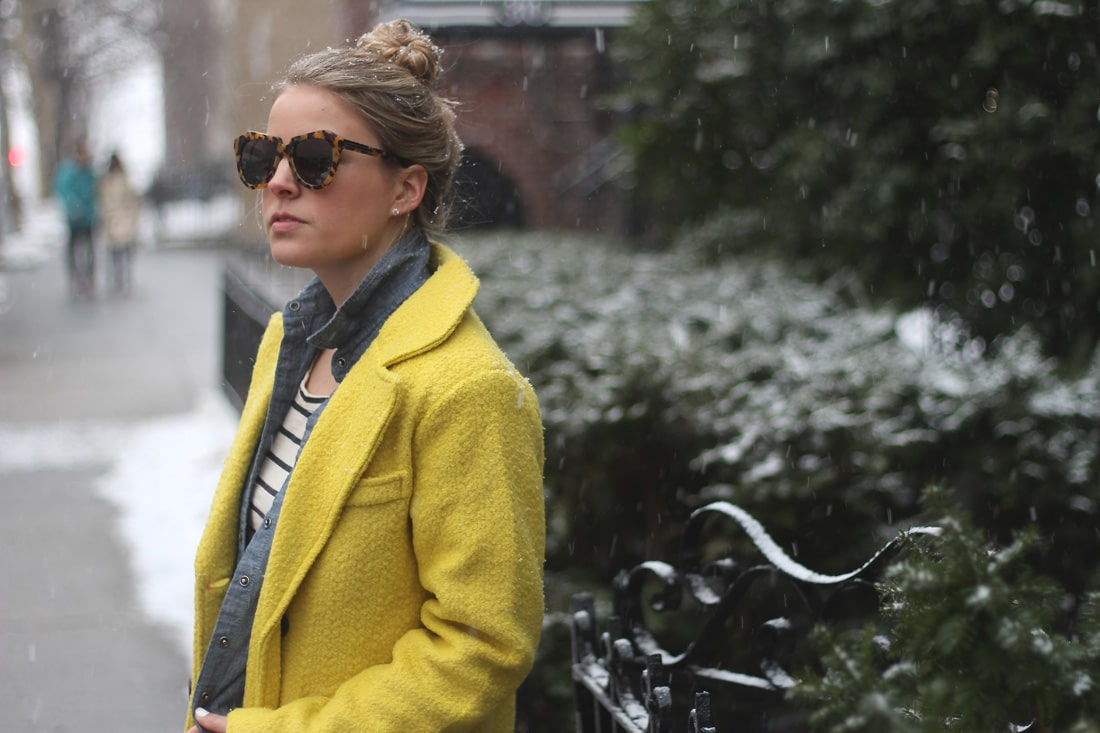 goodnight macaroon, yellow coat, how to layer clothes, duo boots, nyc fashion