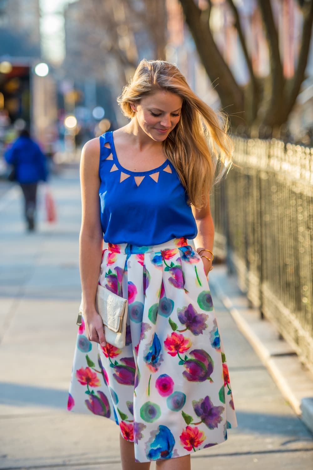 floral midi skirt, spring fashion, floral print skirt, washington square park