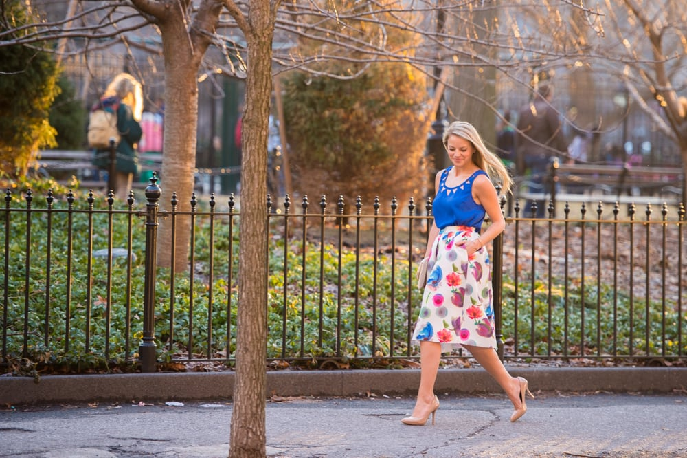 floral midi skirt, spring fashion, floral print skirt, washington square park