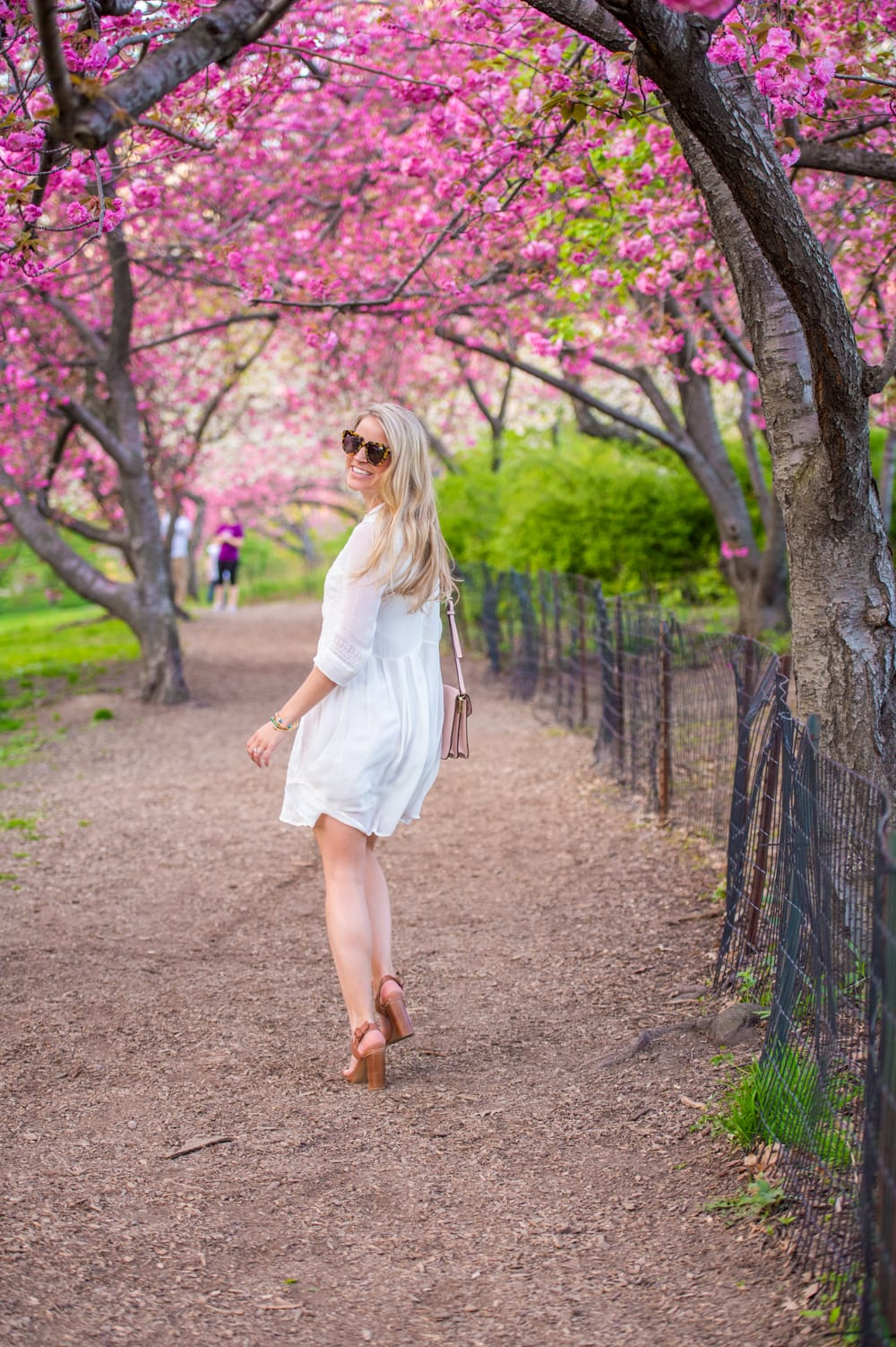 white summer dress, central park