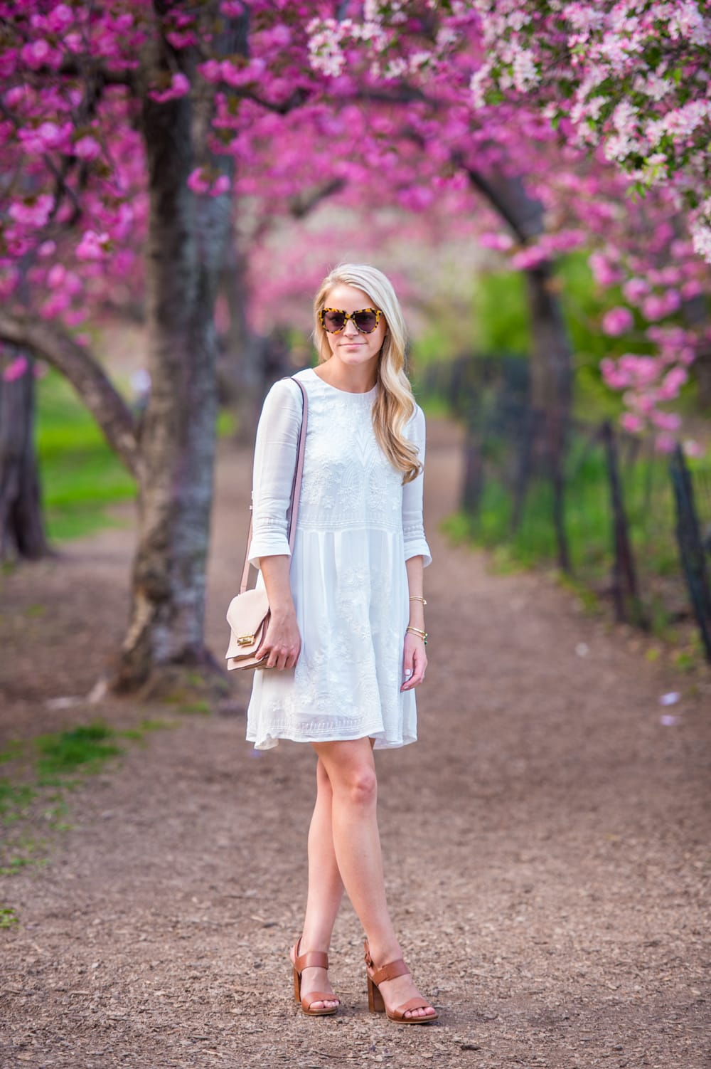 White fit and flare dress, french connection heels