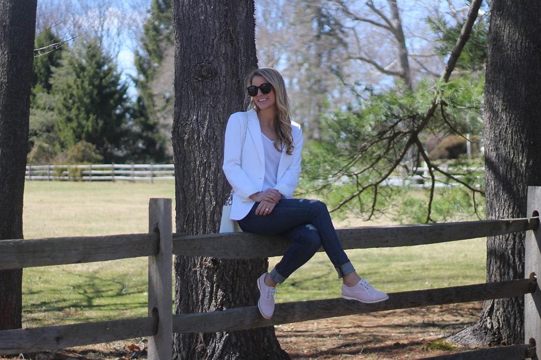 white blazer, johnston & murphy blazer, pink oxfords