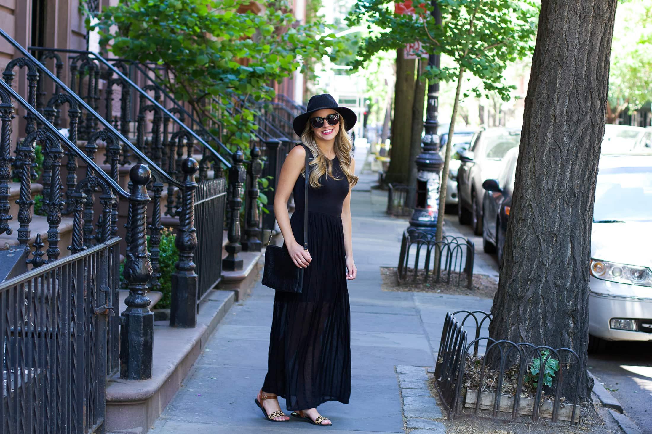 black maxi dress, people style watch