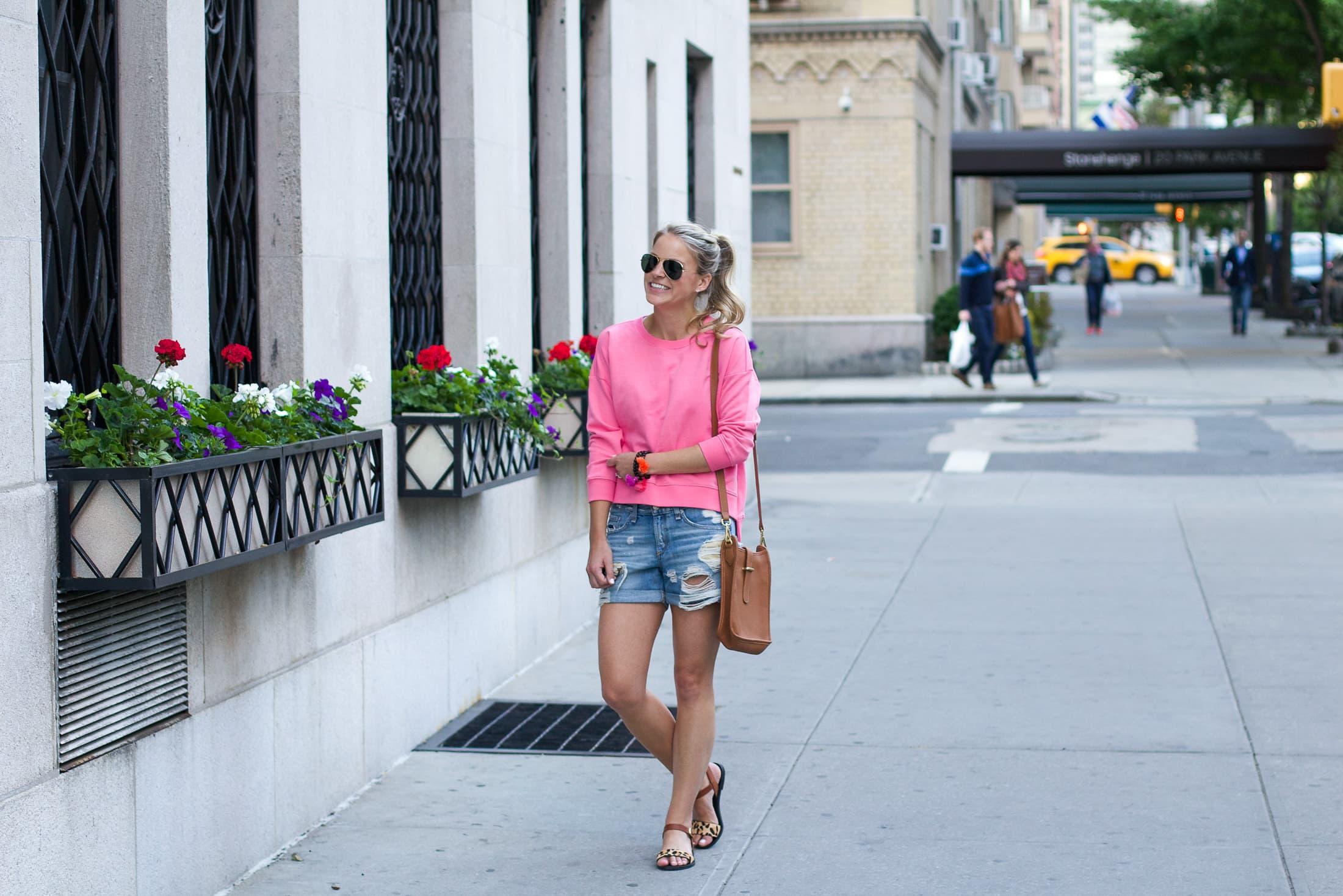 bright pink long sleeve shirt