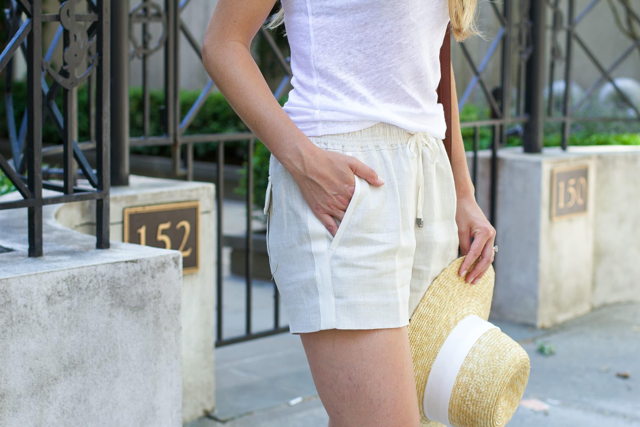 Tuxedo linen shorts