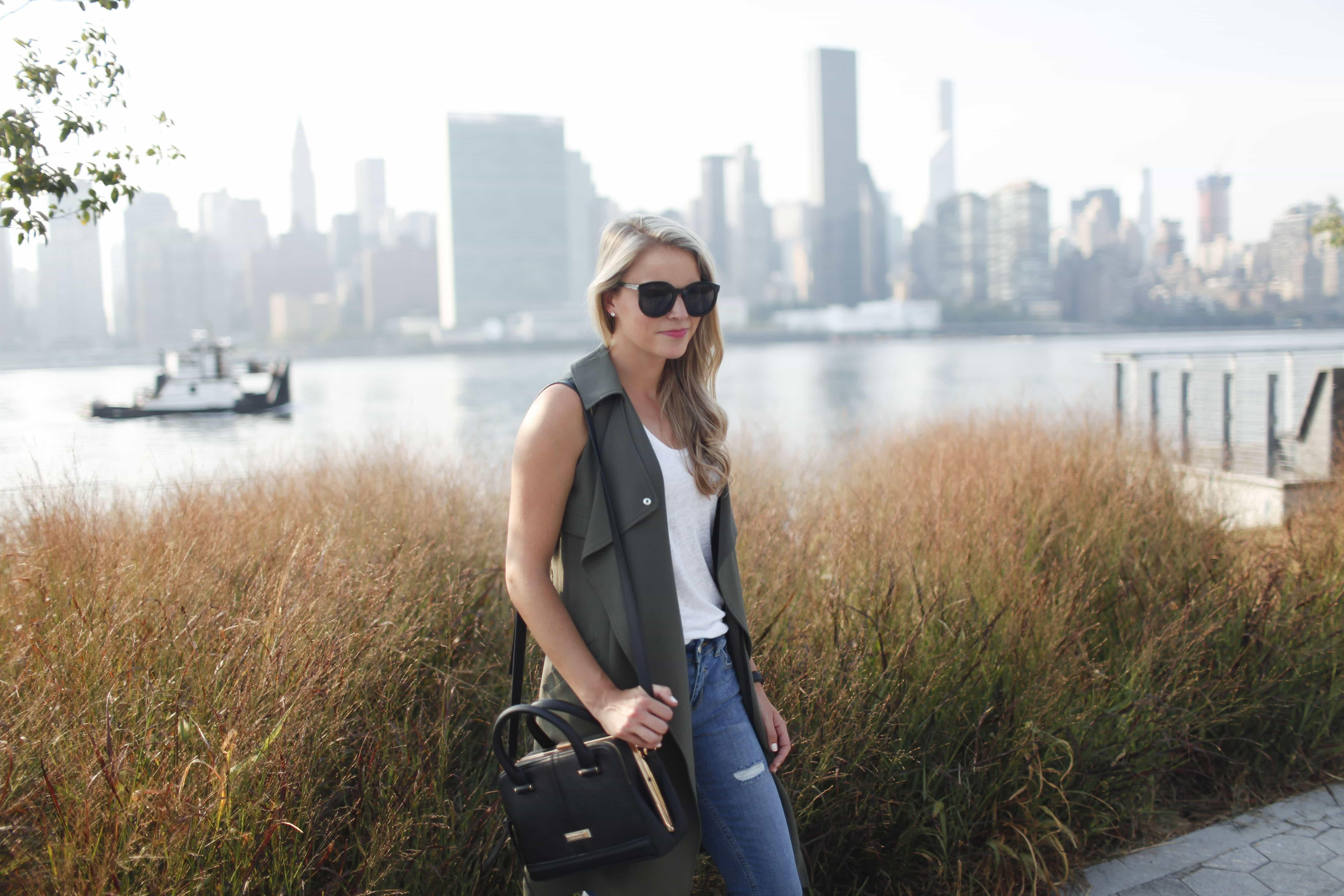 distressed jeans, manhattan skyline