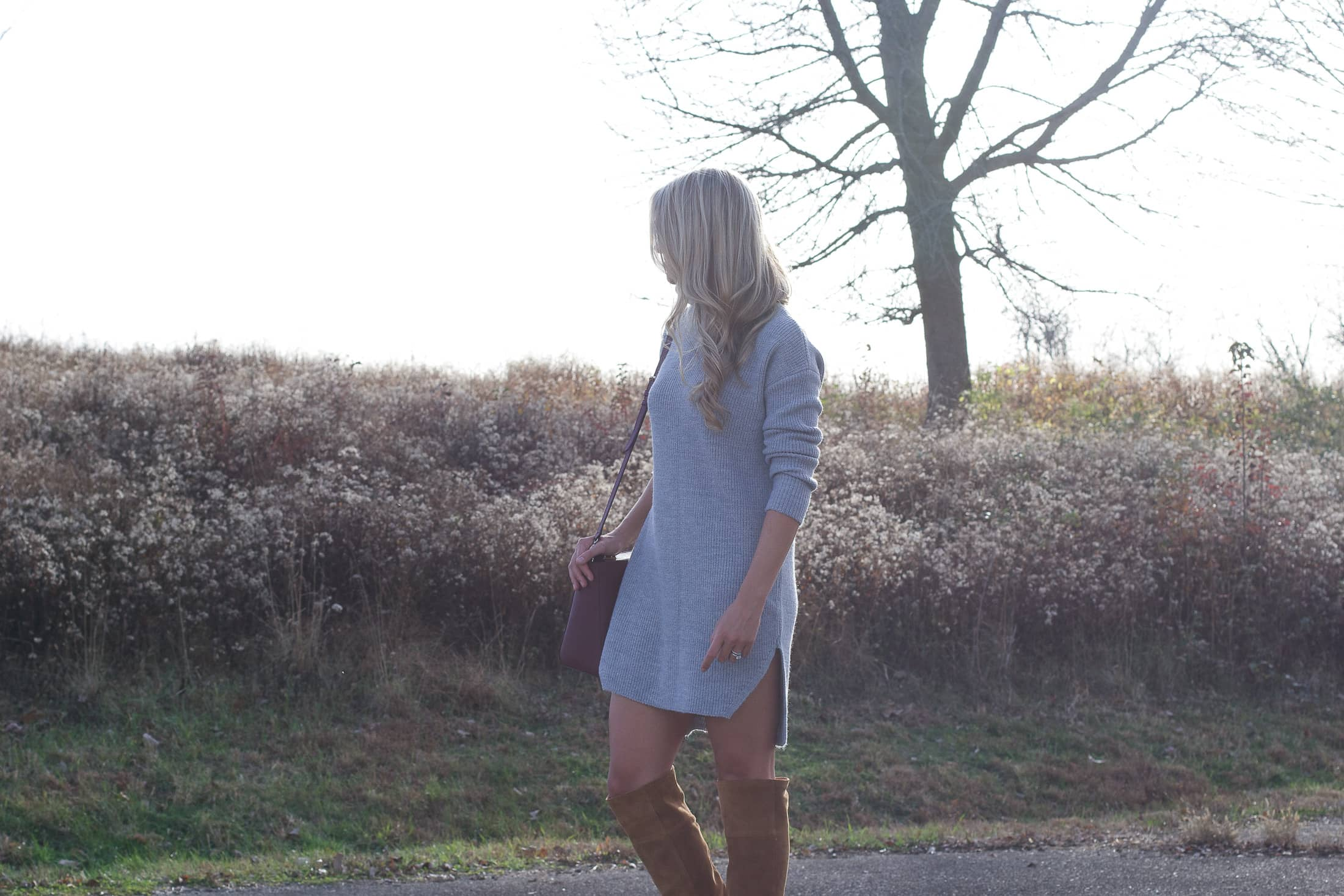 grey sweater dress, loose curls