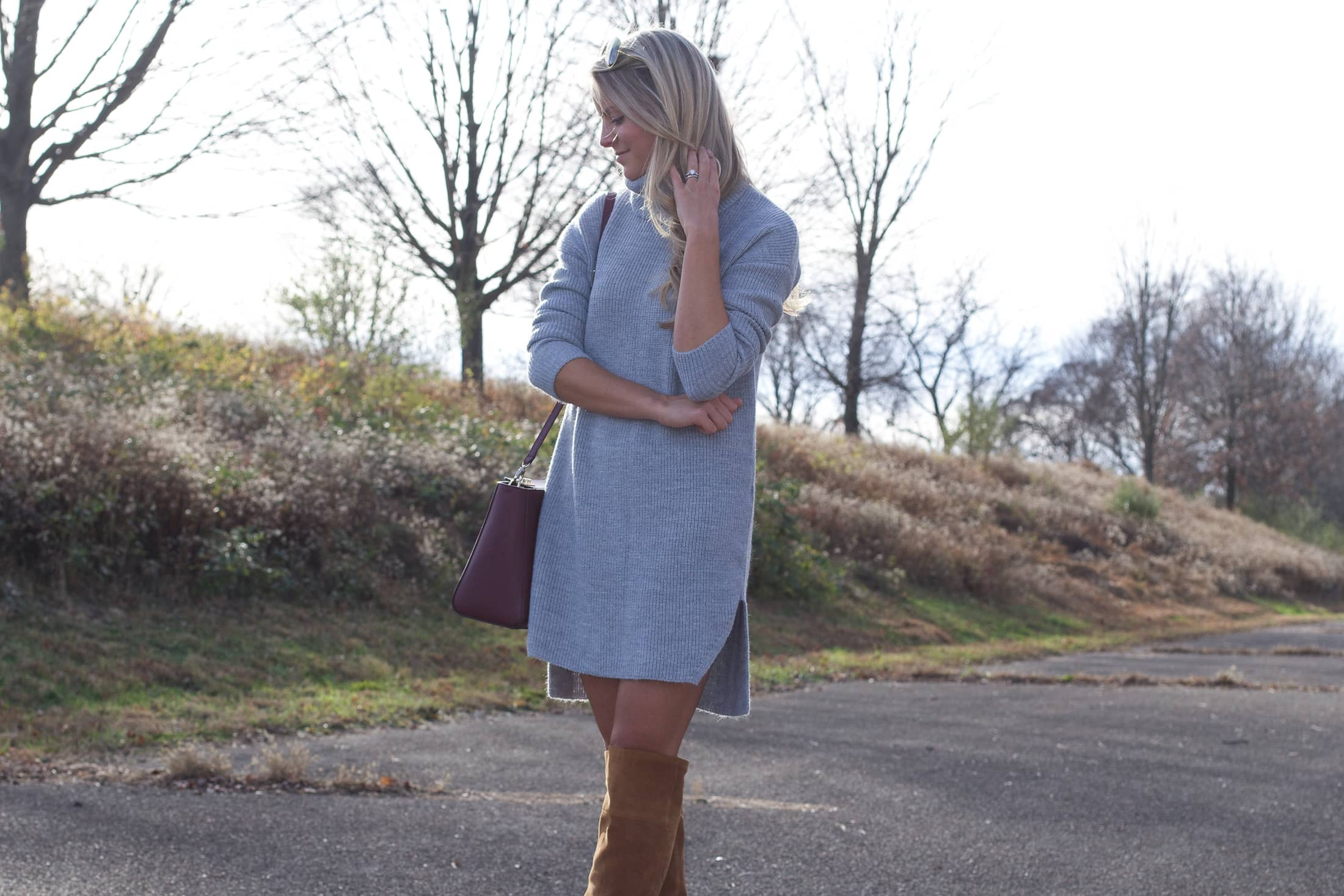 winter dress, cozy knit dress