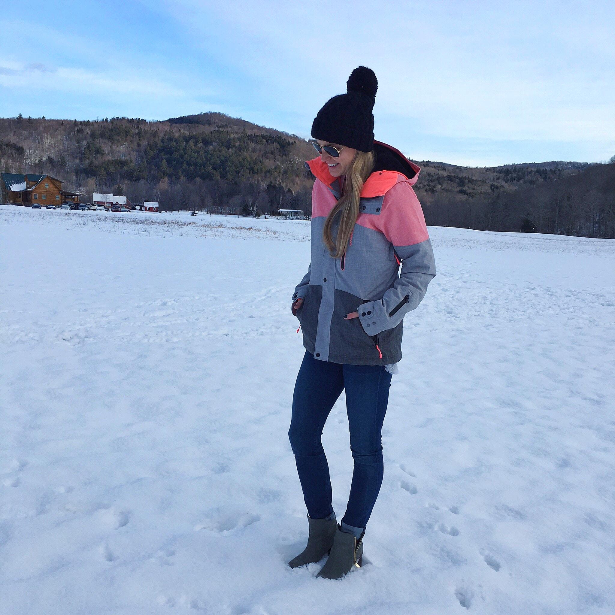 ski jacket, snow coat, o'neil, pom pom hat