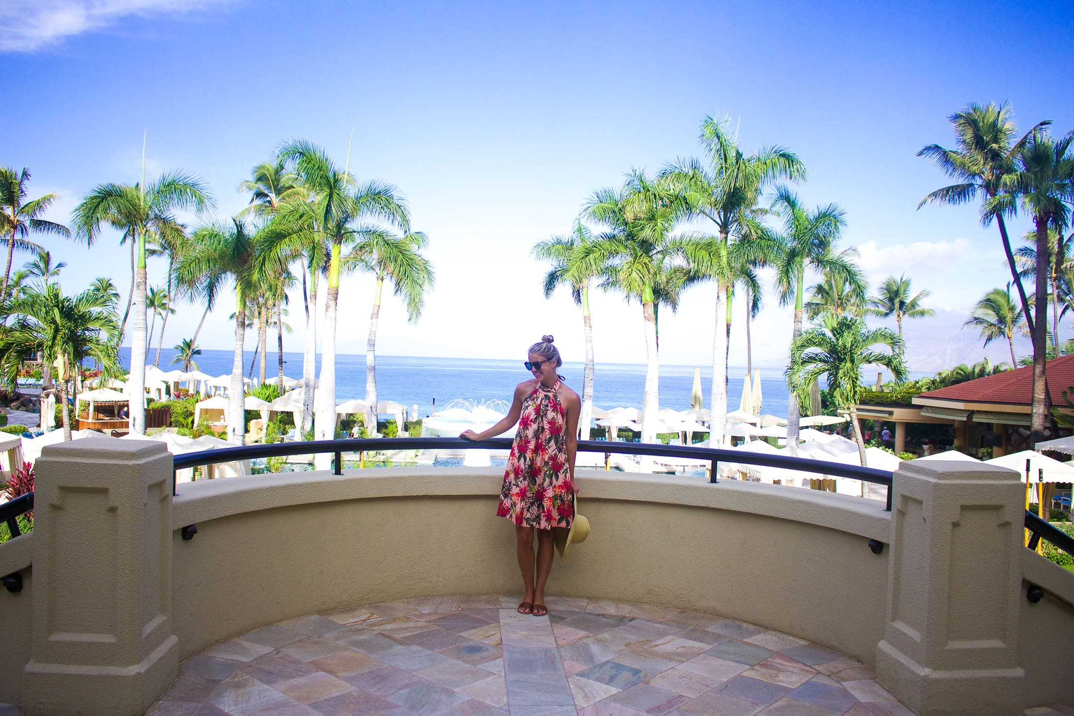 four seasons maui, palm print dress
