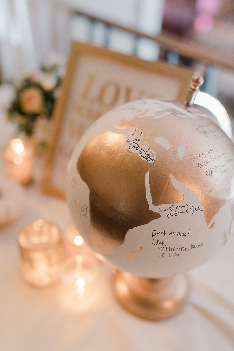 globe guest book, rachel pearlman photography