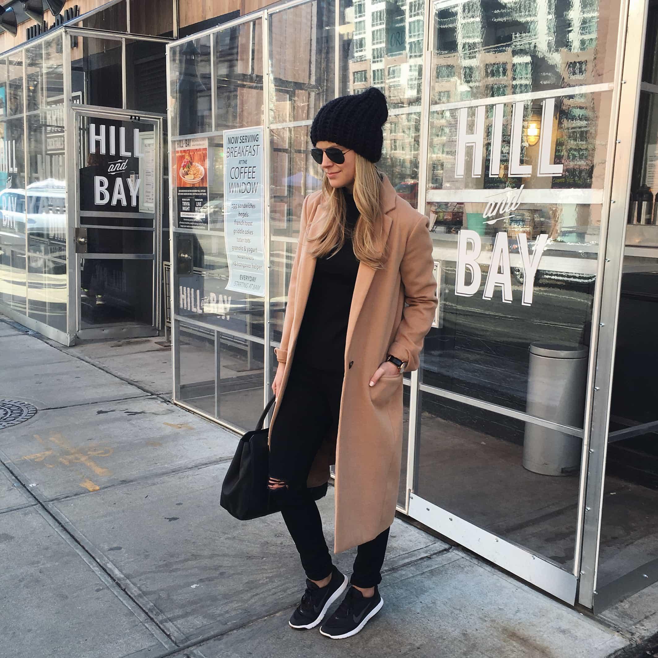 table talk tuesday, camel coat, pom pom hat