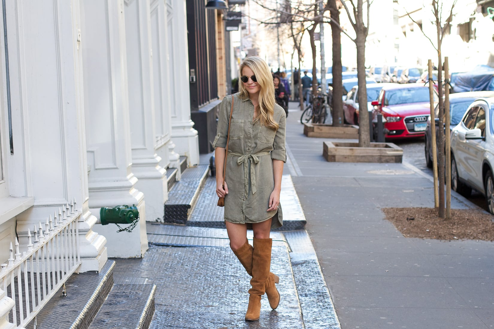 military green belted shirtdress, loose waves, t3 micro