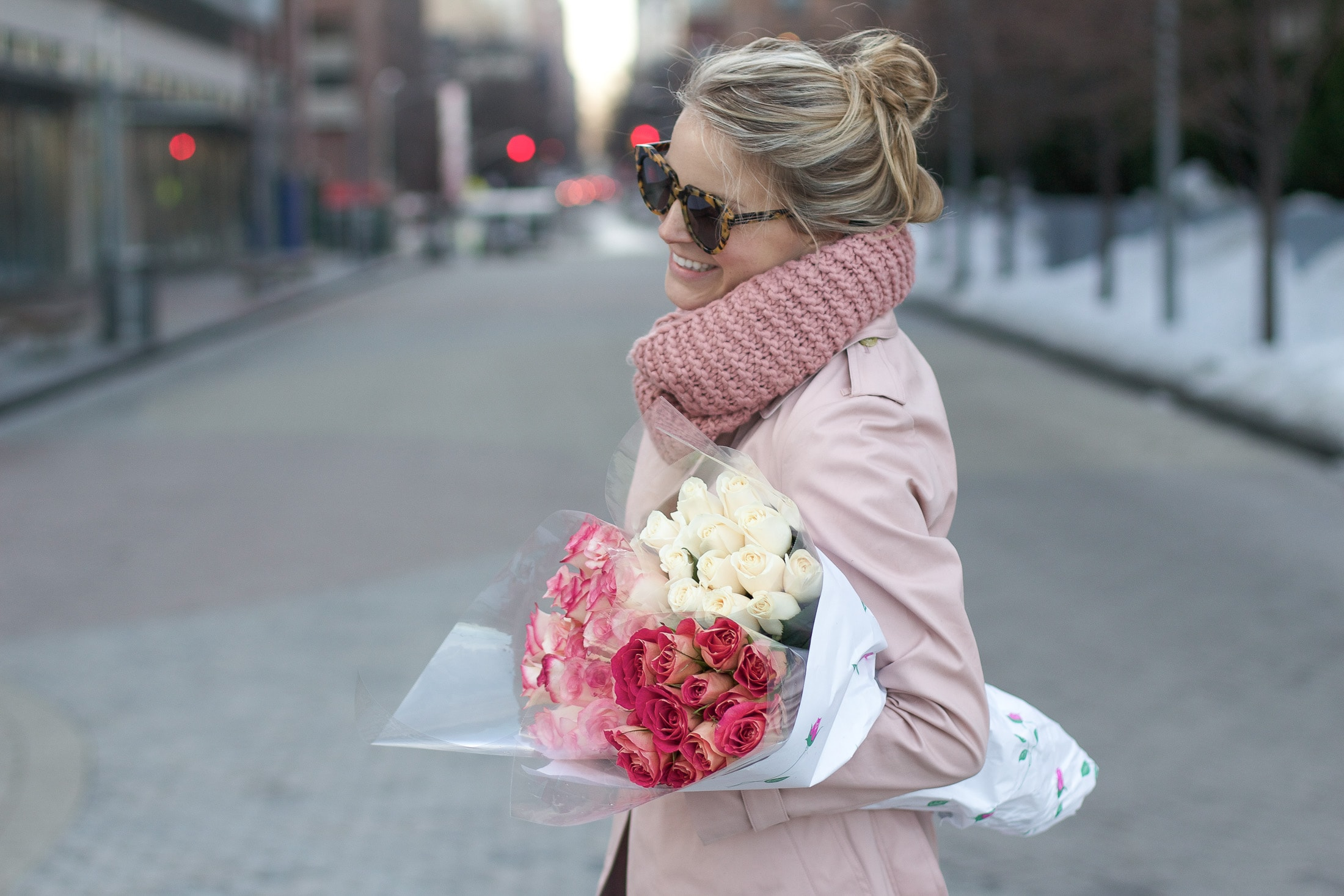 pink roses, karen walker sunglasses, valentine's flowers