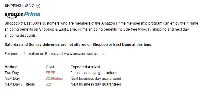 SHOPBOP and Amazon Prime