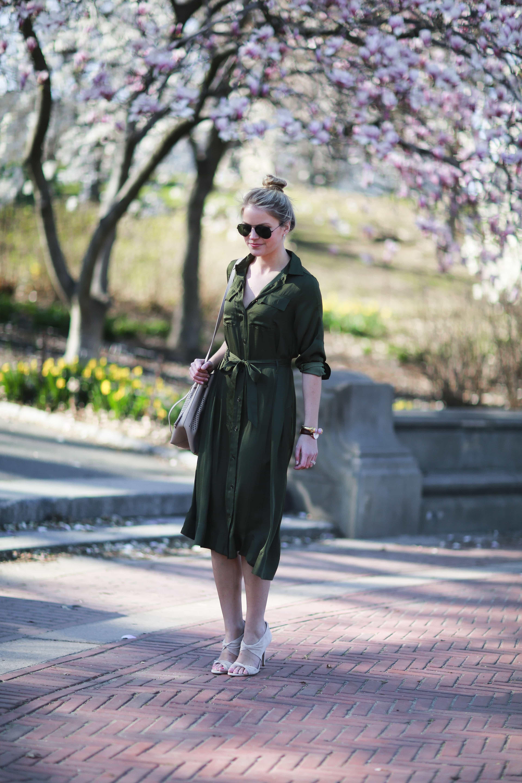midi dress, military green
