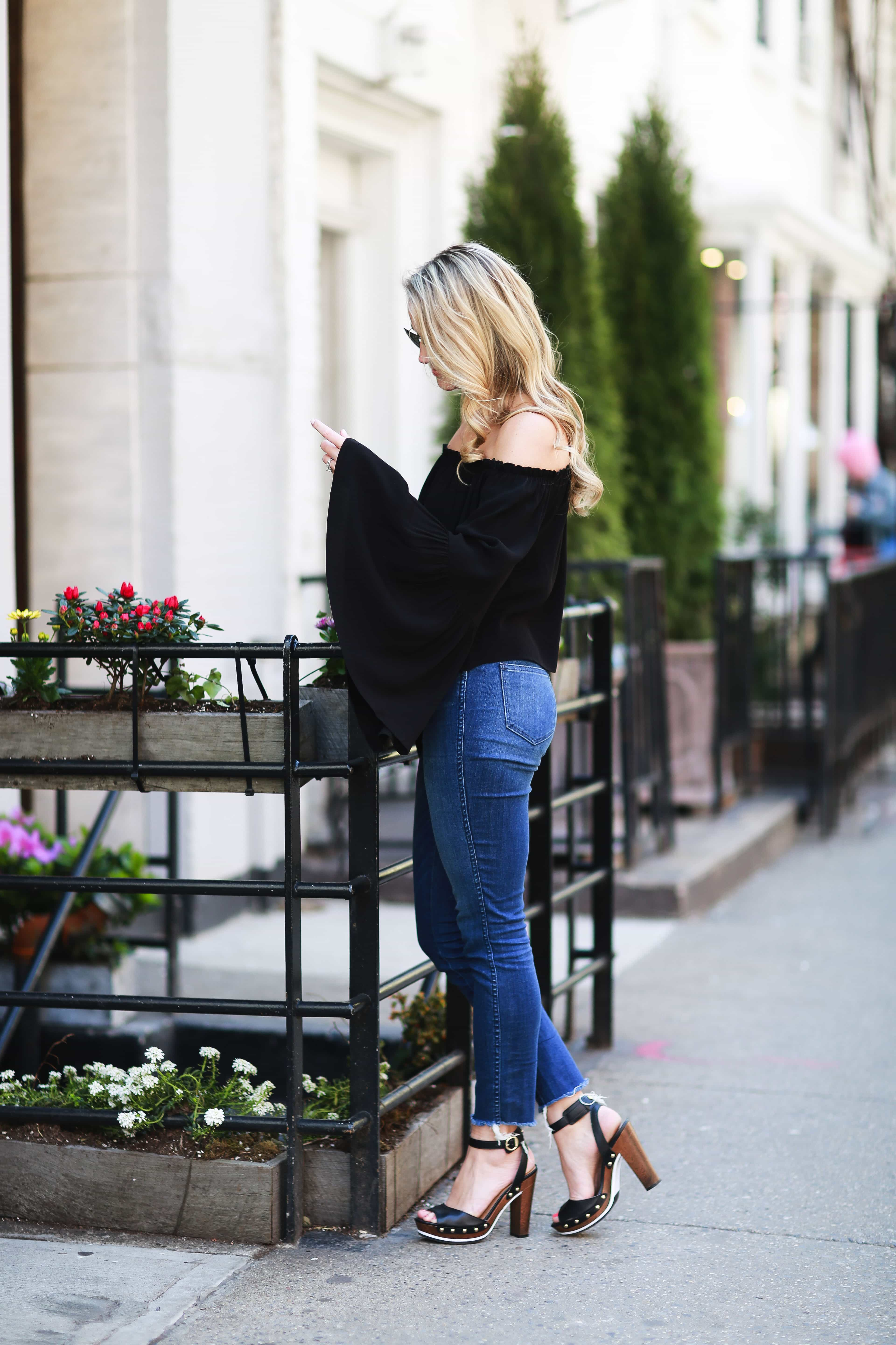 black bell sleeve top, t3 micro, new york