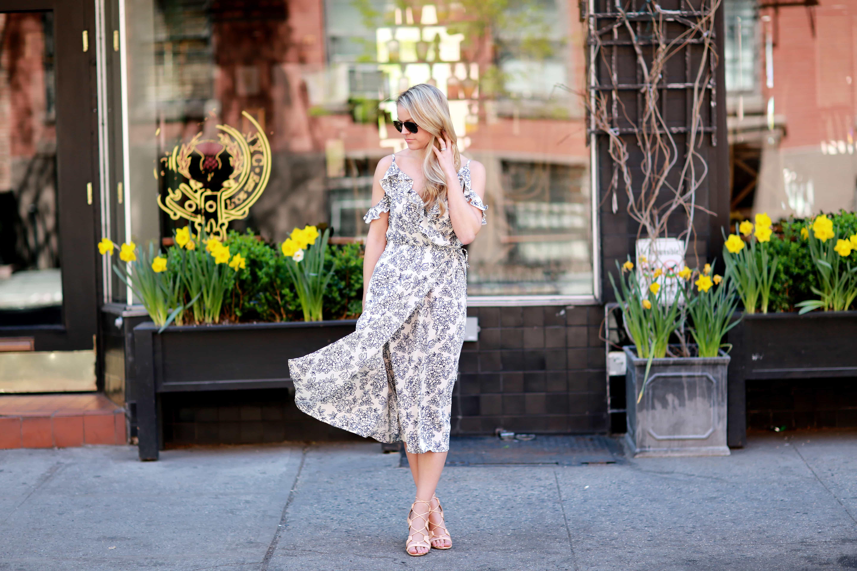Floral Wrap Midi Dress Styled Snapshots