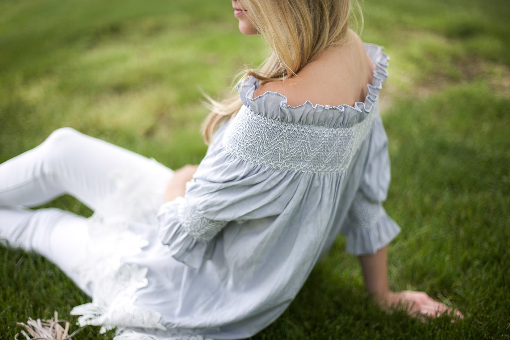 rouched off the shoulder blouse