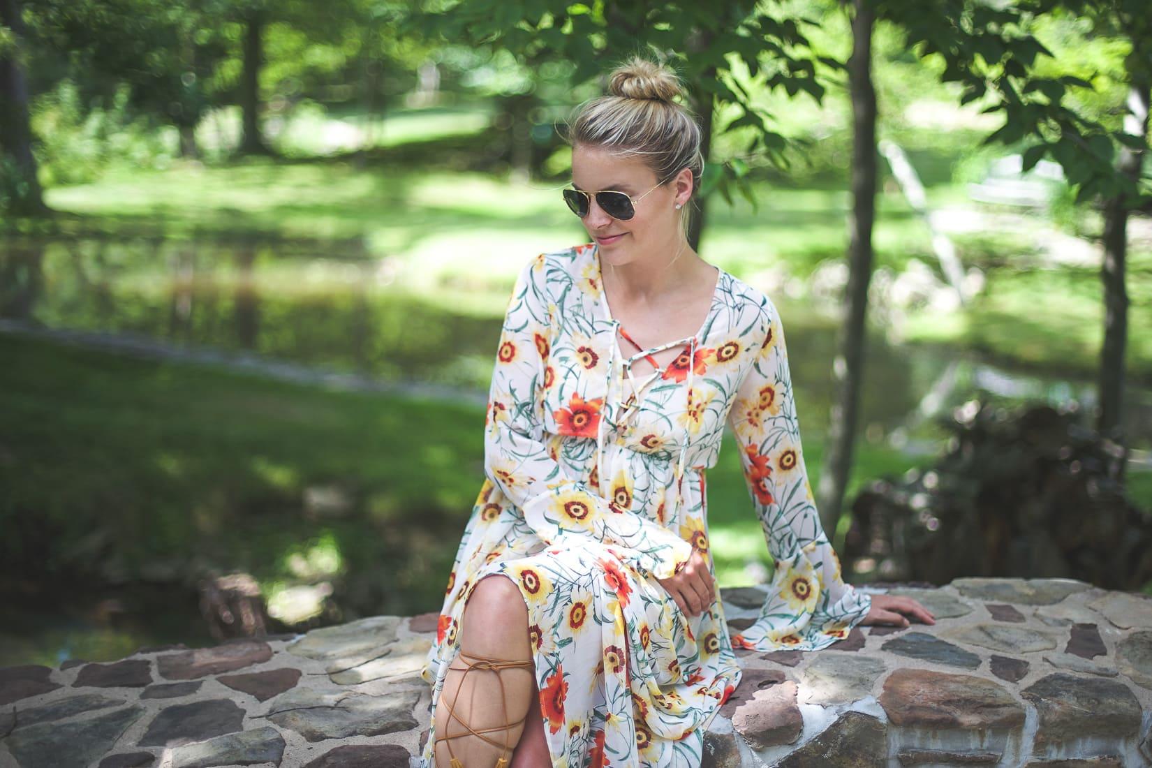 wild daisy lace up dress