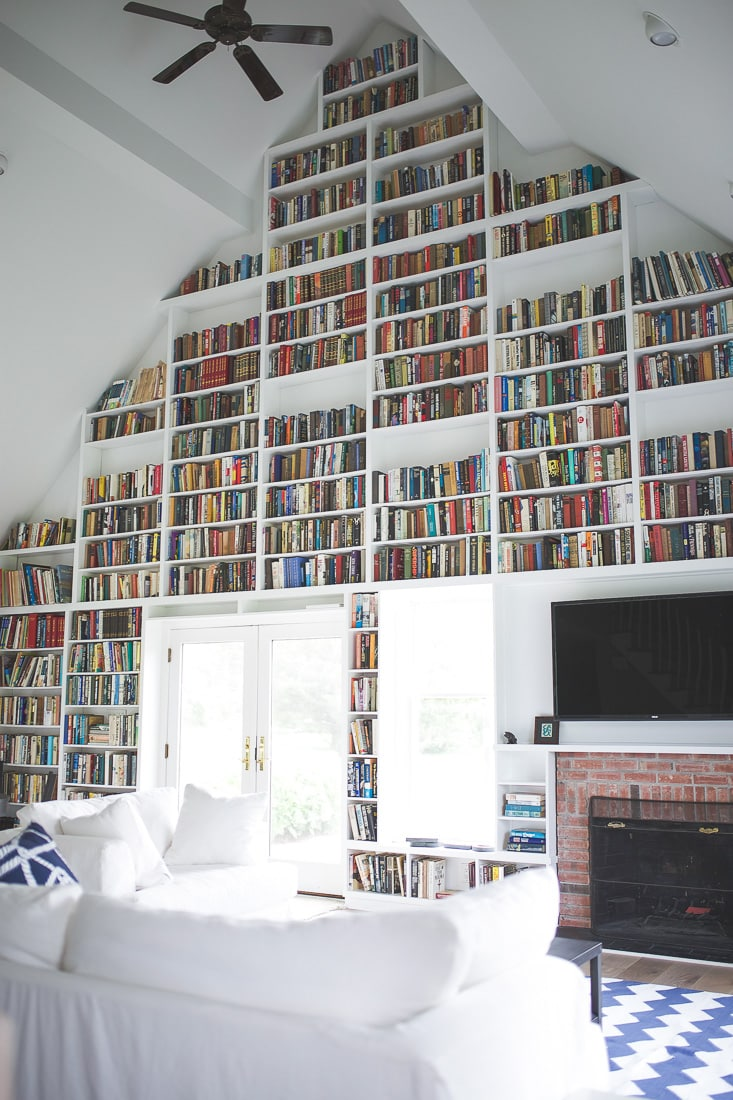wall of bookshelves , summer cottage, interior decor