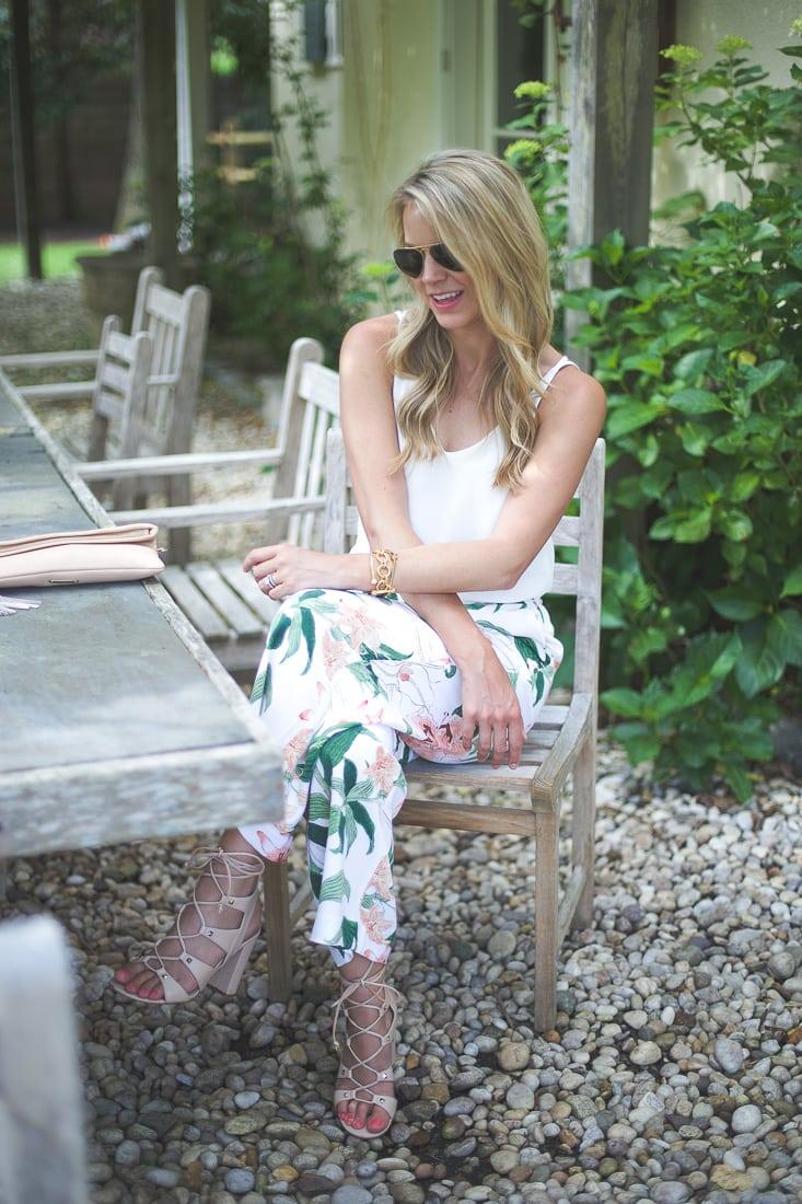 Garden Print Drapey Pants