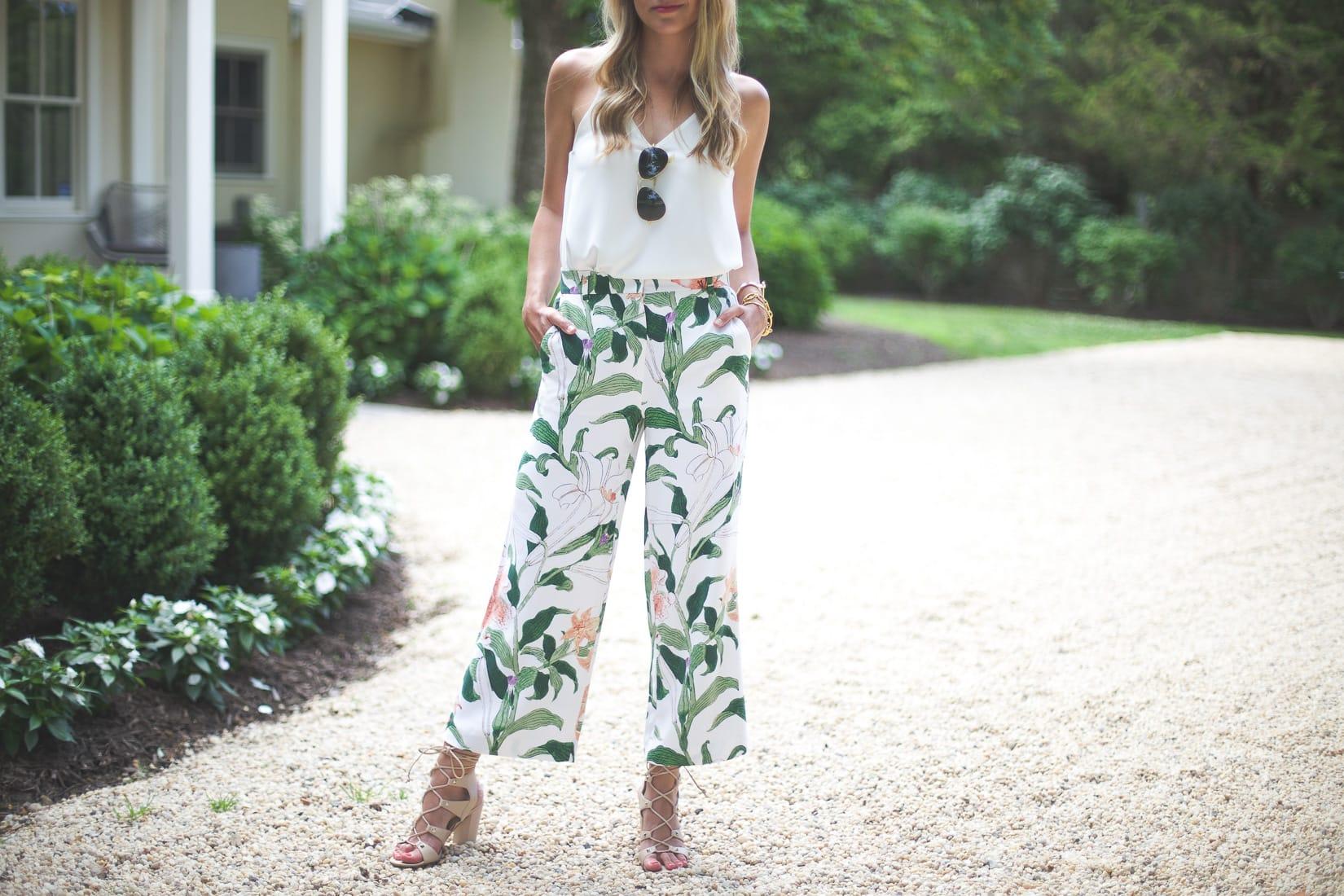 ann taylor Garden Print Drapey Pants