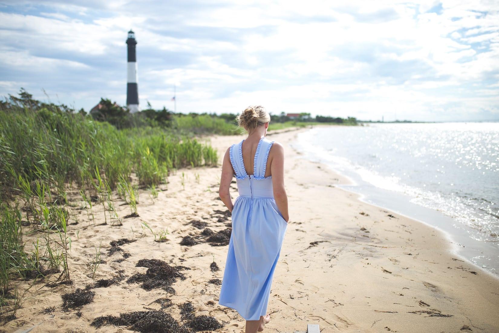 ruffle blue cotton dress