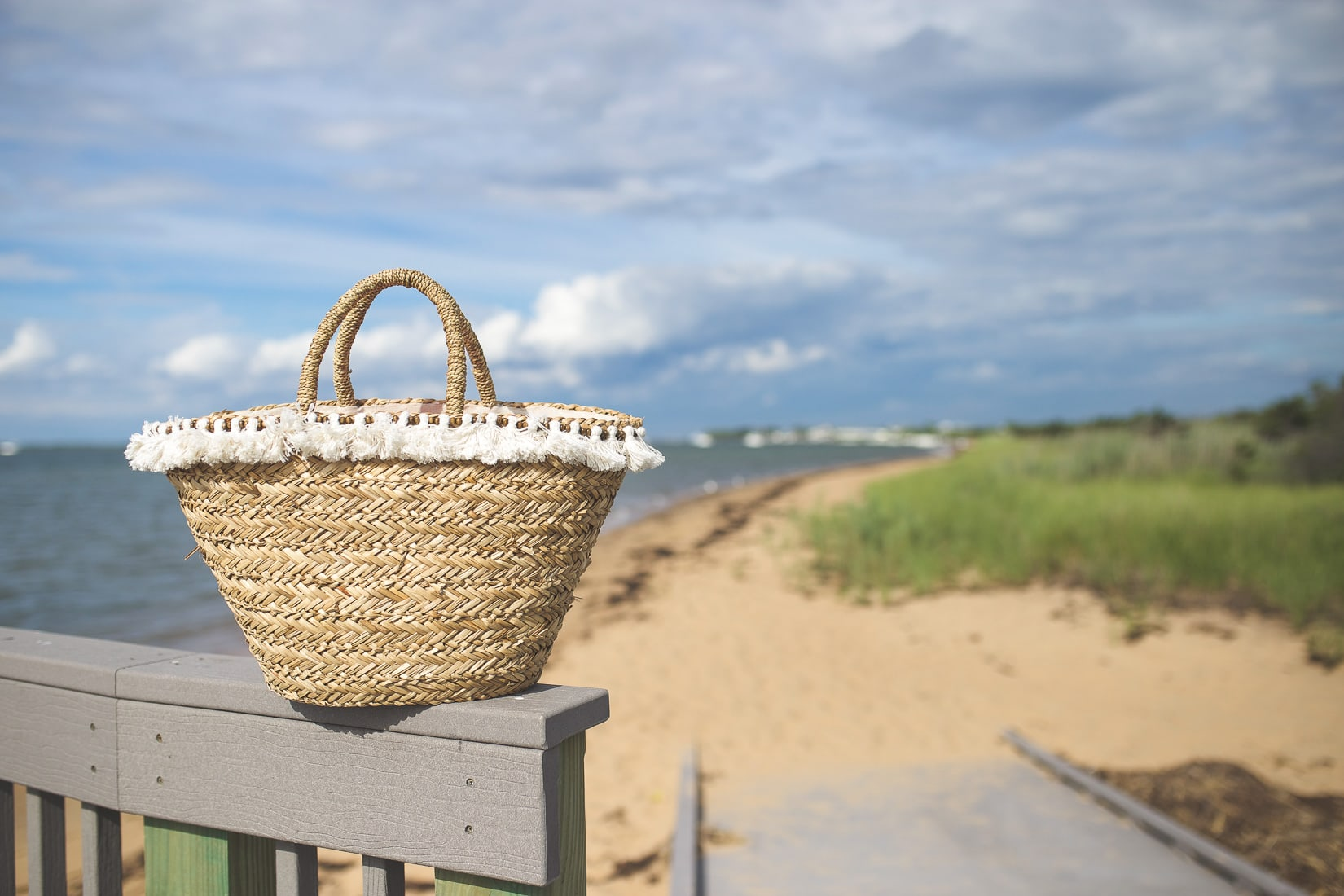 straw beach tote with tassels