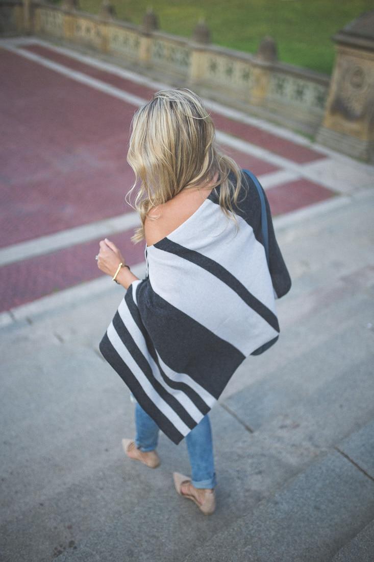 cashmere stripe poncho