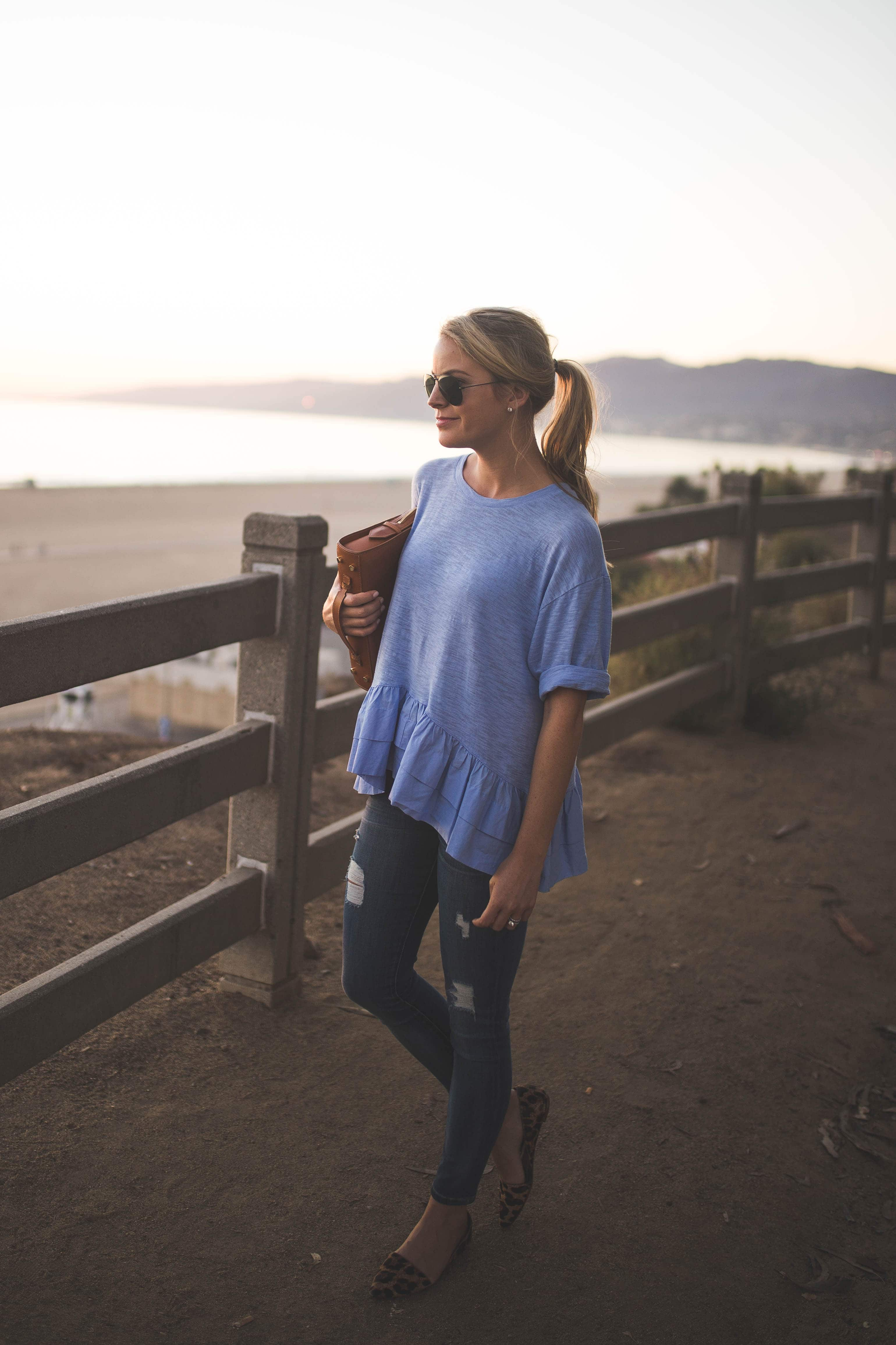 Santa Monica Sunset, Peplum Top, Anthropologie
