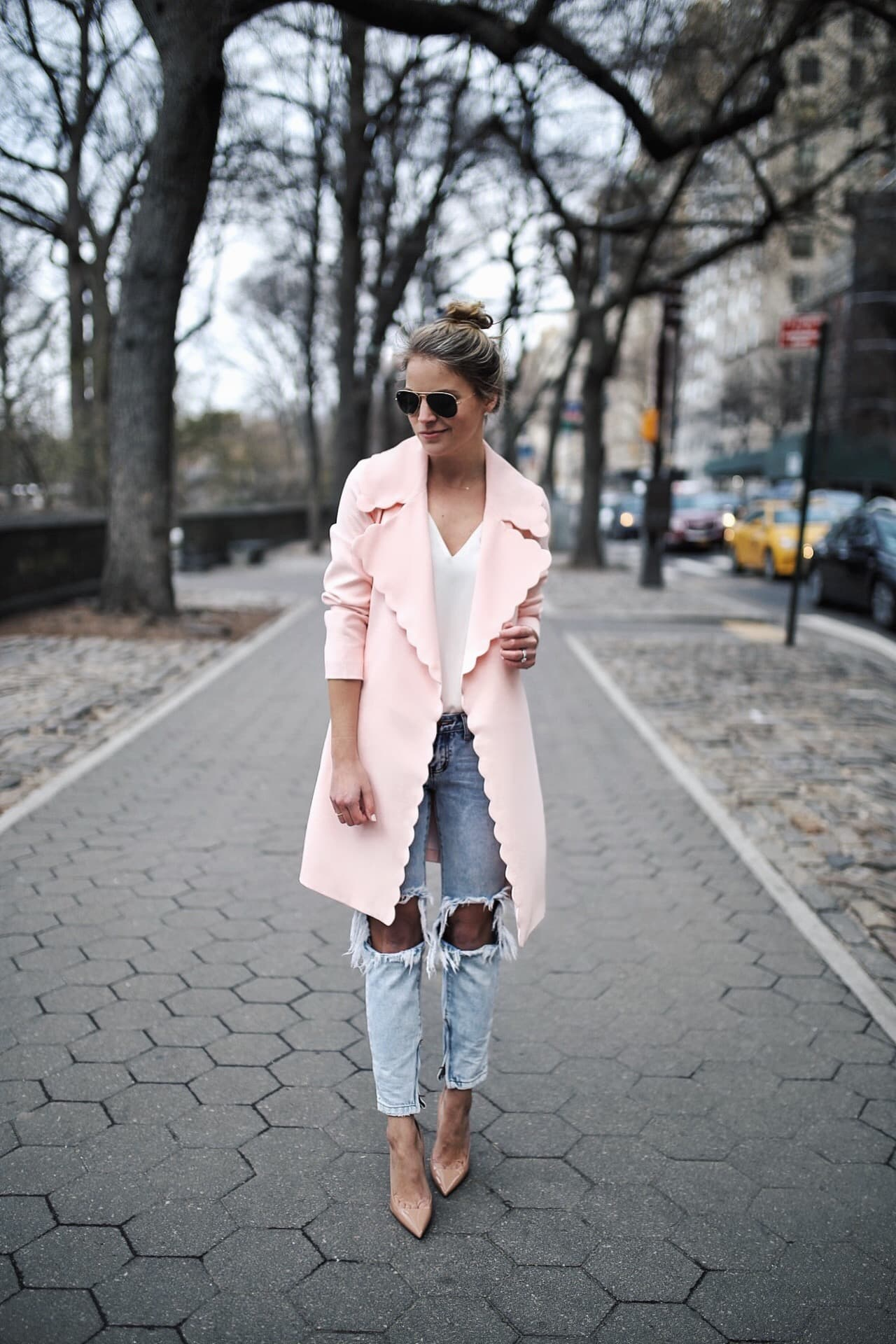pink scallop coat