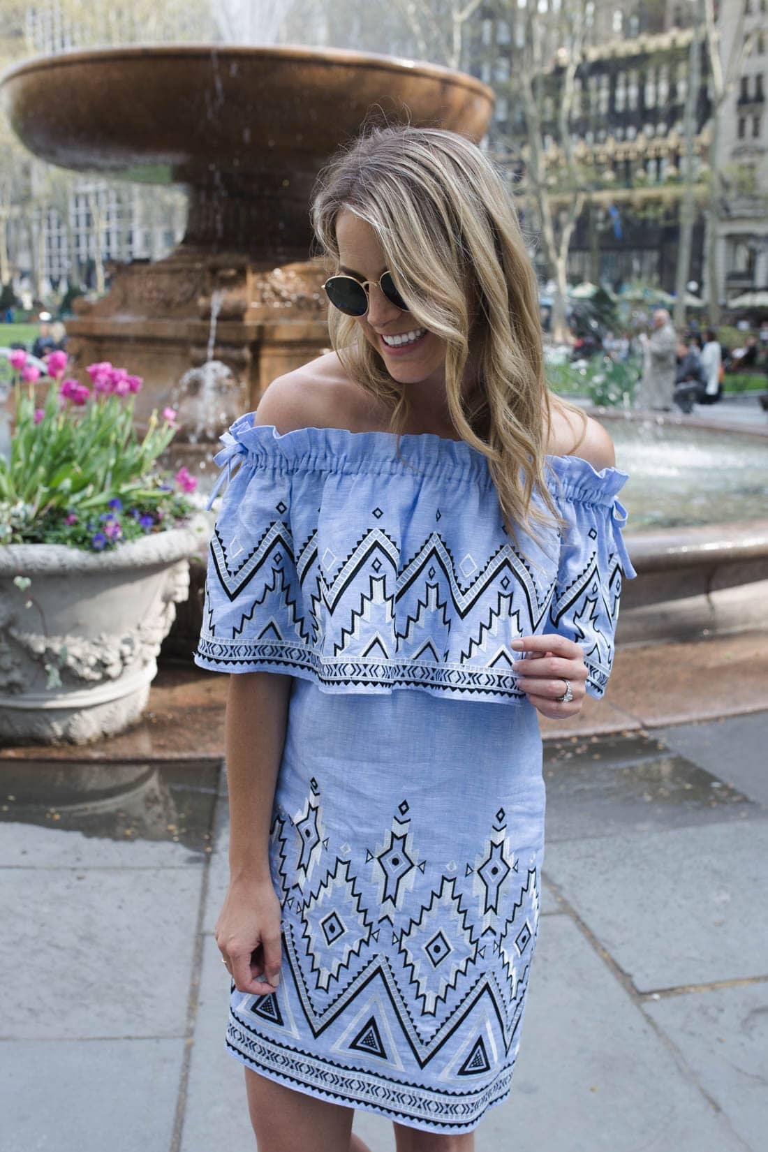 embroidered off the shoulder top