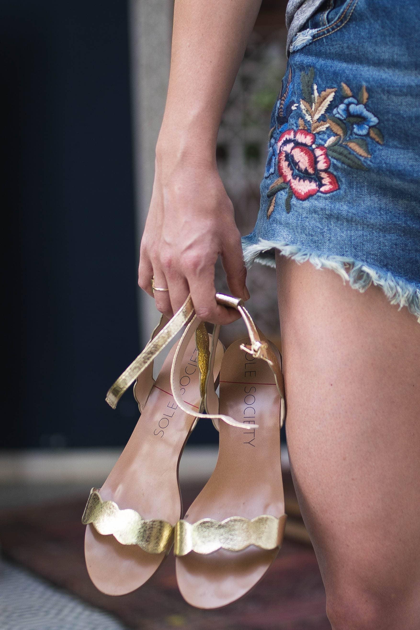 gold scallop sandals