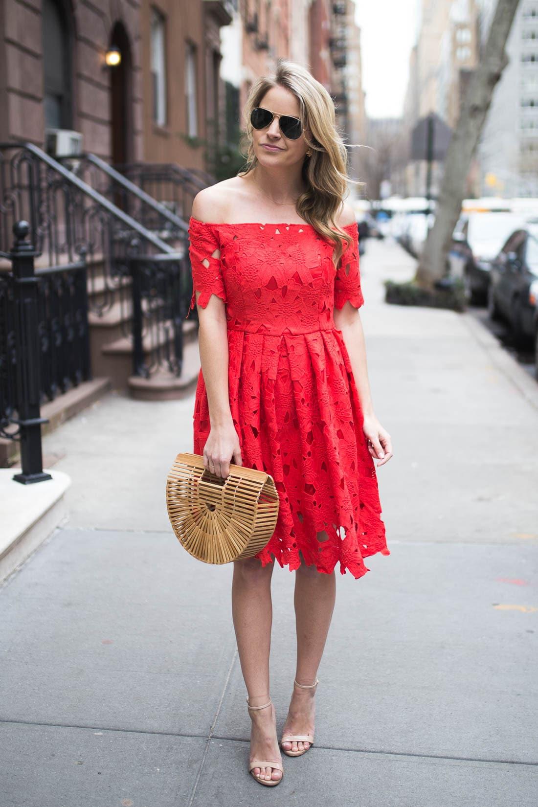 red crochet dress
