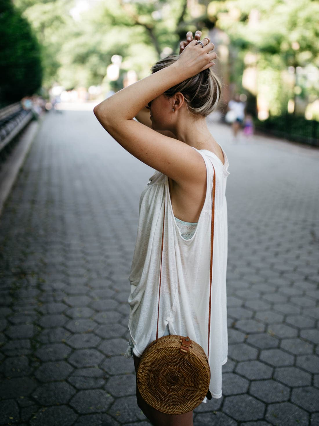 The Sol Round straw rattan bamboo bag