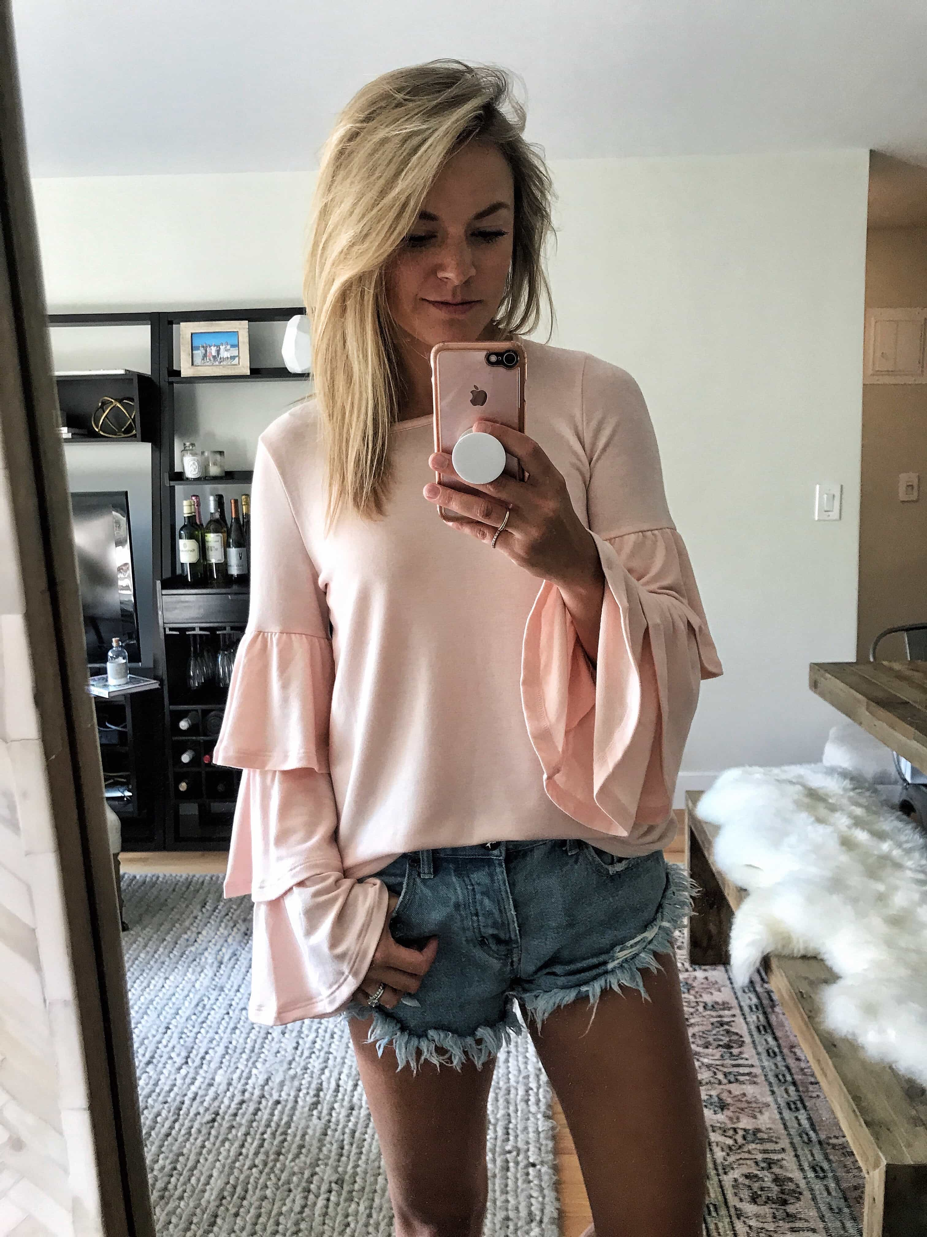 Tiered Bell Sleeve Knit Top