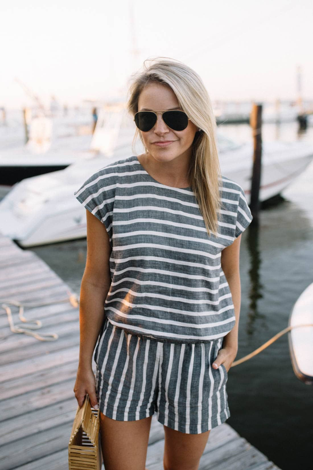 Lou & Grey Striped Tie Back Romper