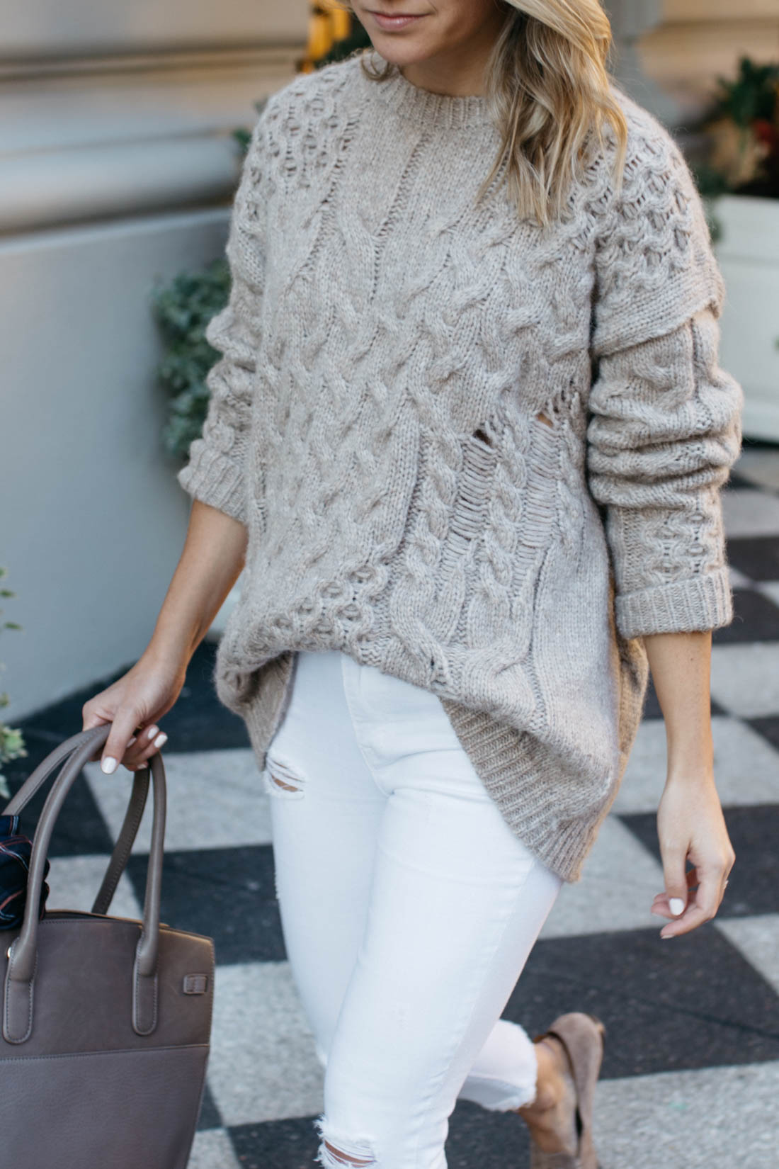 Destroyed Cable Knit Pullover