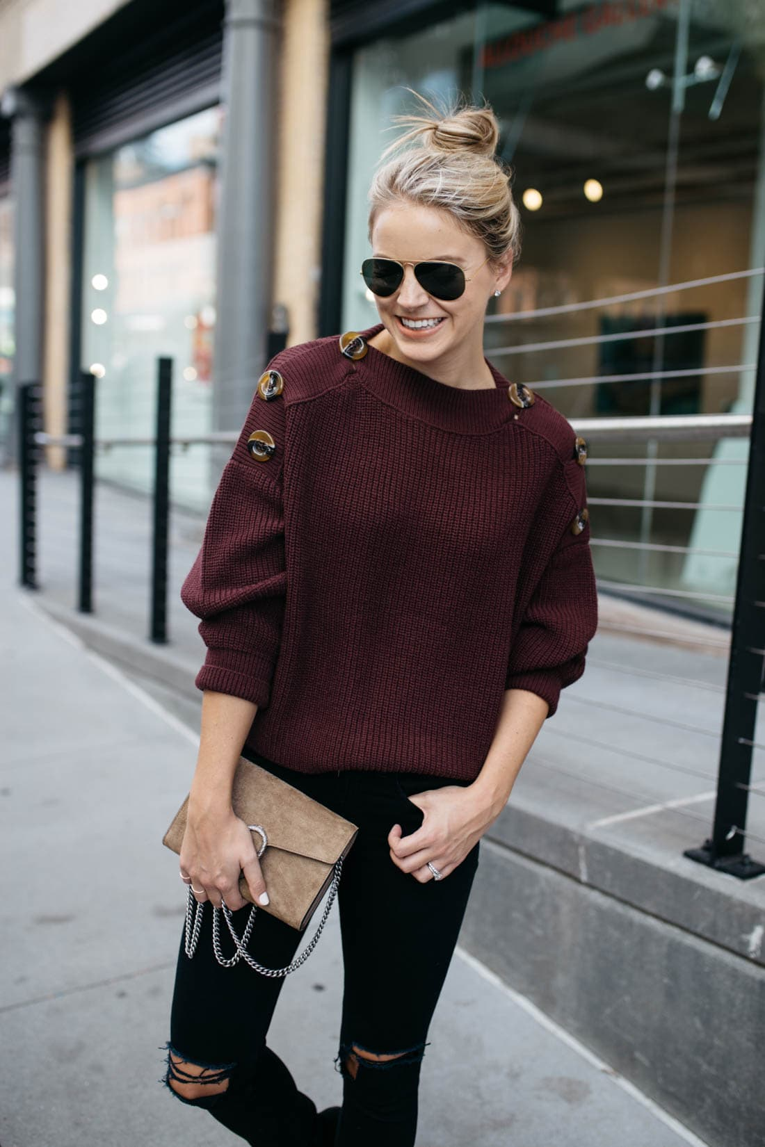 Button Slash Knit Sweater