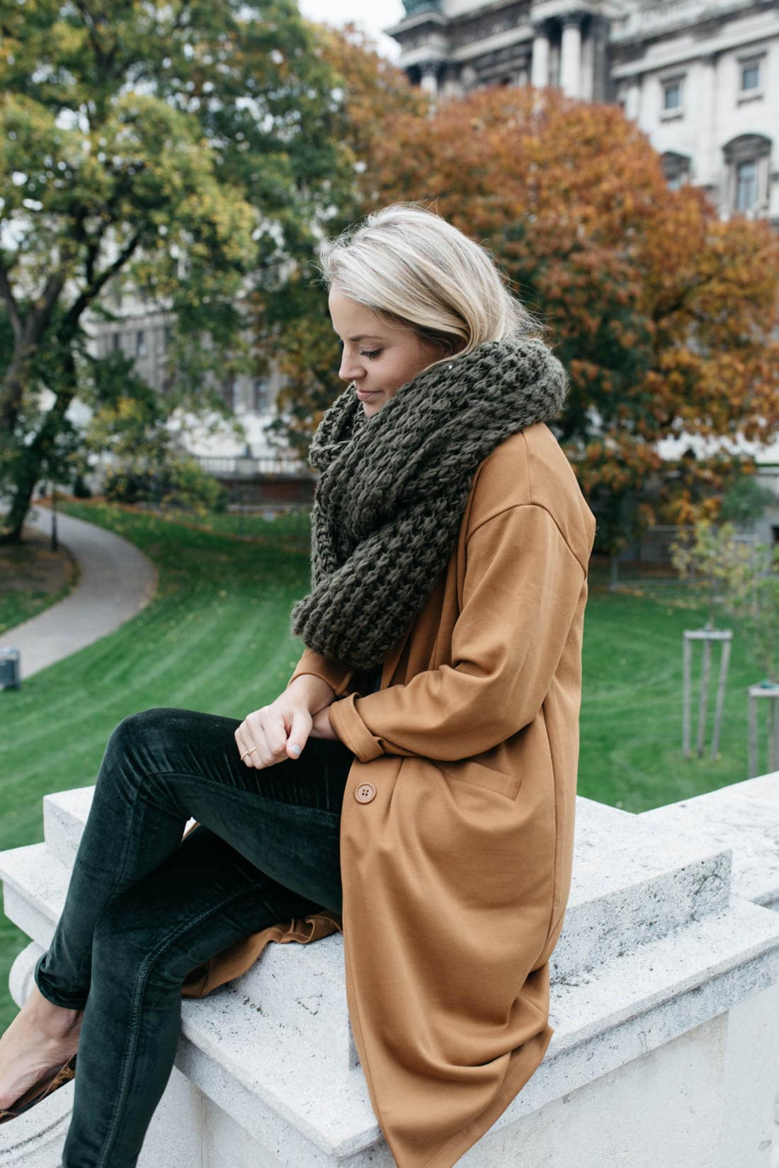 Olive oversized infinity scarf