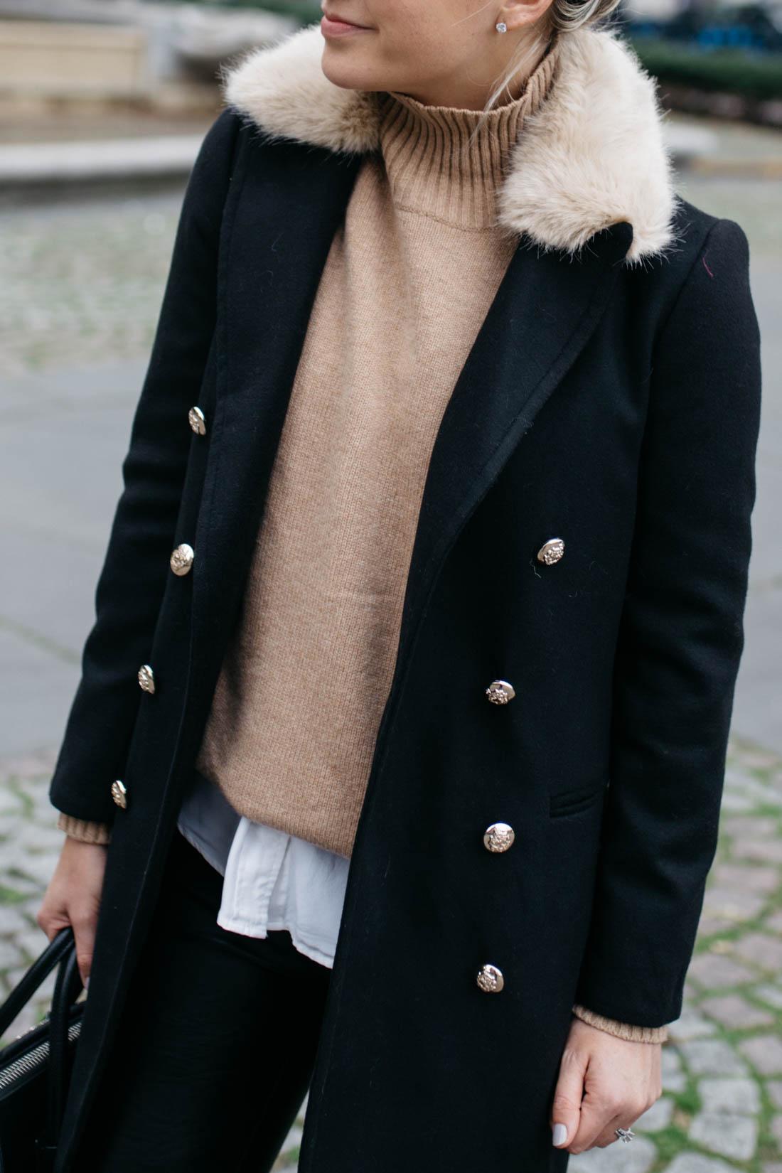 Topshop Faux Fur Collar Coat