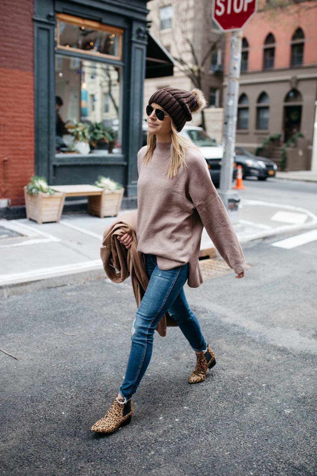 Chunky Knit Faux Fur Pompom Beanie