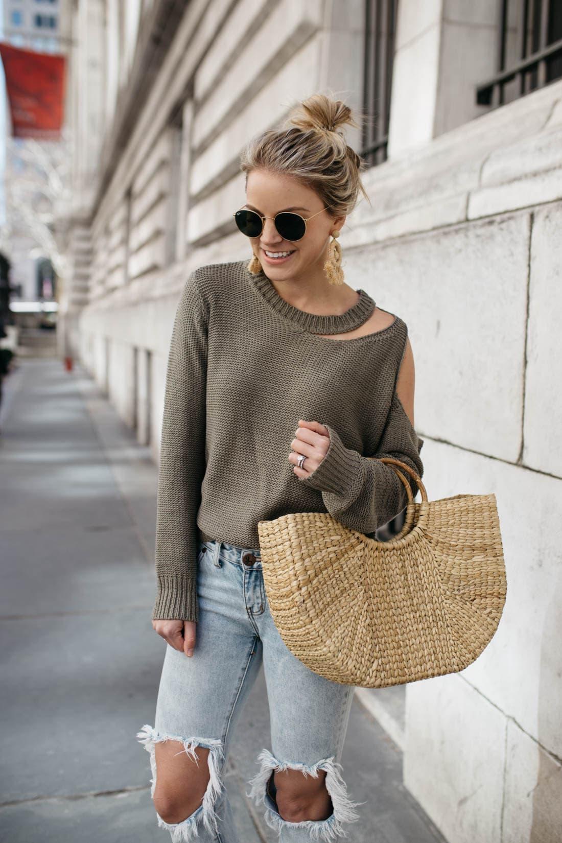 Aqua Cutout Sweater