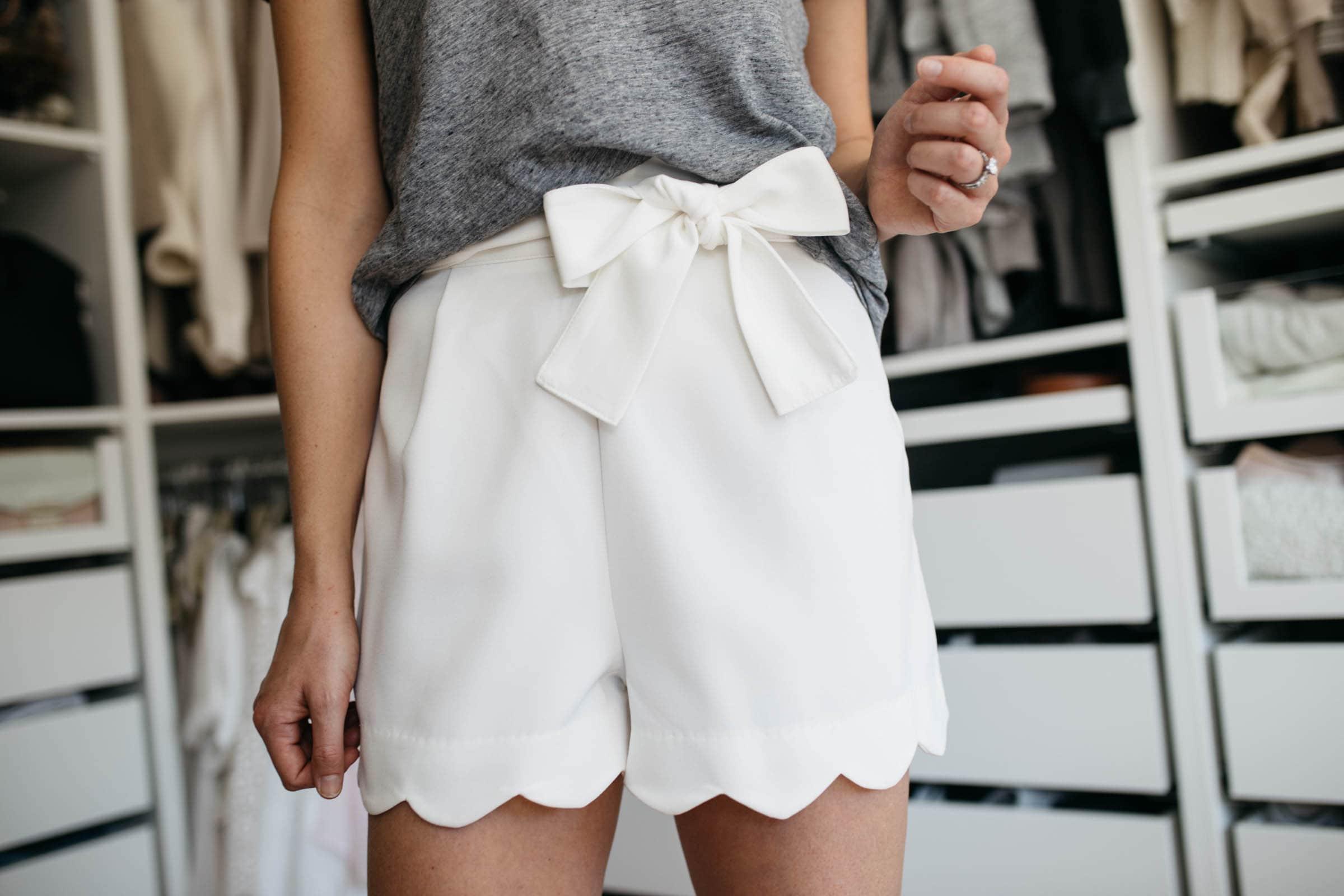 Aqua High-Waist Scalloped Shorts