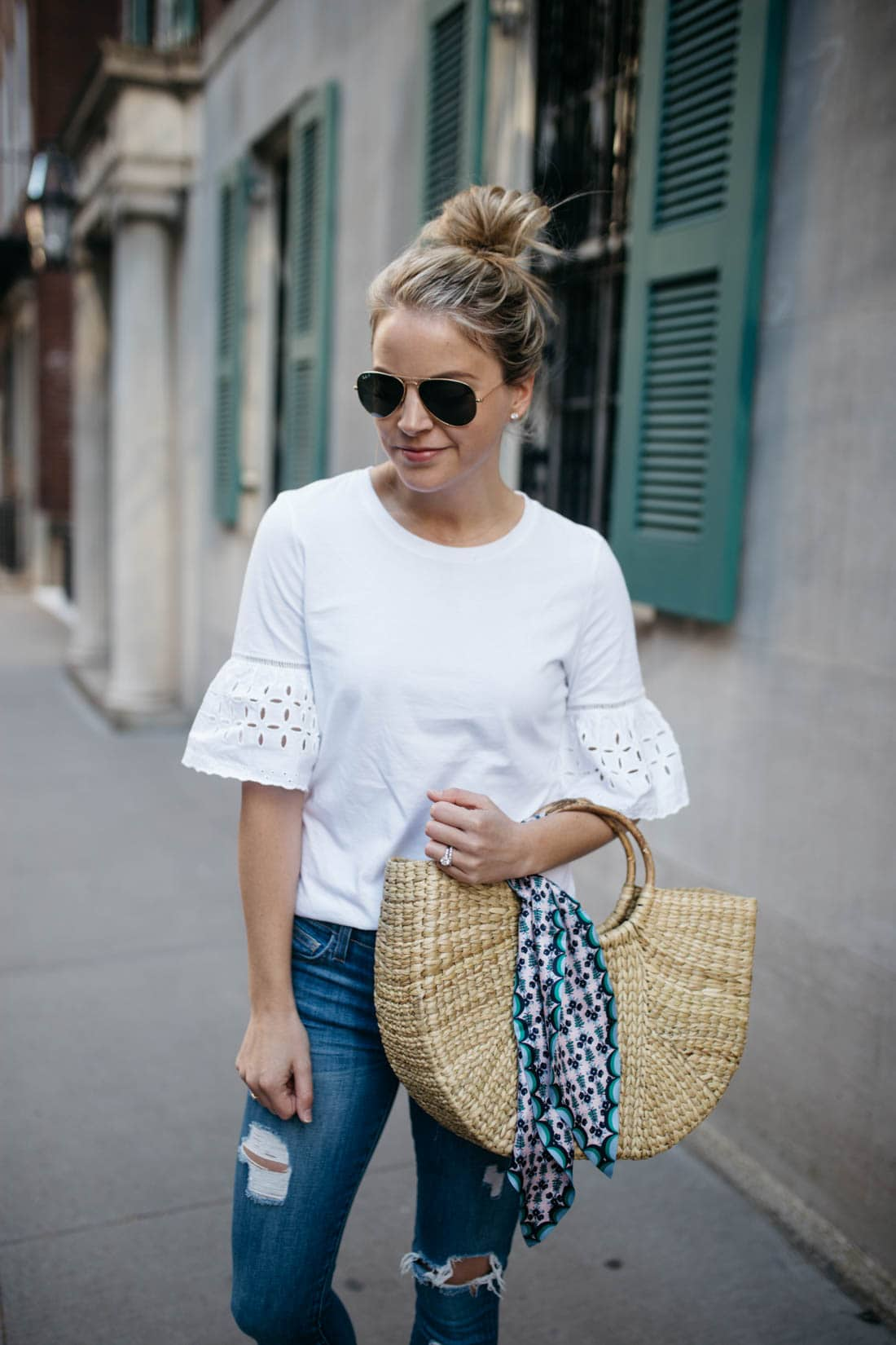Eyelet Flare Sleeve Top