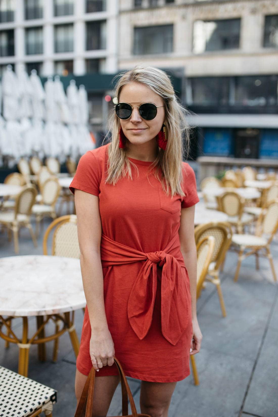 Rebecca Minkoff Mary Tie-Front Knit Mini Dress