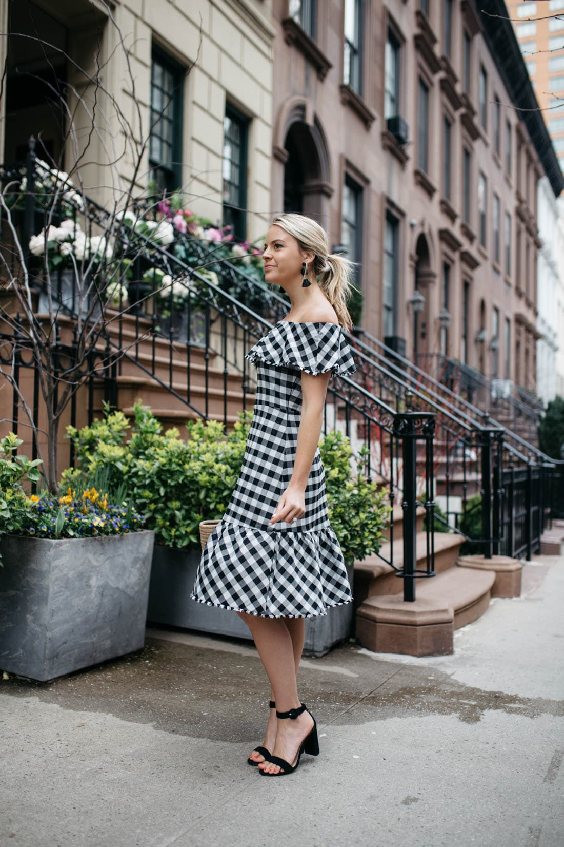 f8f43b8040390 Styled Snapshots · Ann Taylor · Baublebar Earrings · Gingham Fashion ·  Gingham Dress · Gingham Off The Shoulder ...